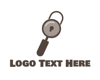 Magnifying Glass - Search Padlock logo design