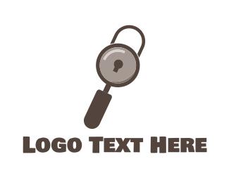 Locksmith - Search Padlock logo design