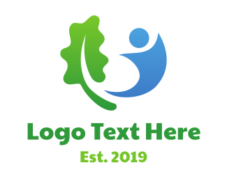 Primitive - Leaf And Human logo design
