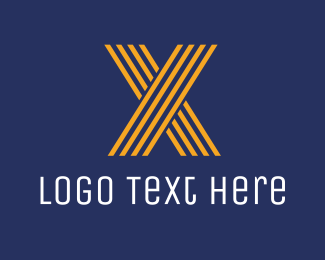 Optical - Striped Orange Letter X logo design