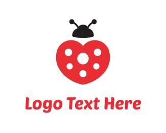 Ladybug - Heart Ladybug logo design