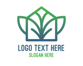 Green House - Gradient Leaf Wing House logo design