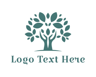Ecology - Blue Hand Tree logo design
