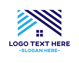 Roof - Striped Blue Roof logo design