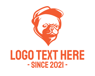 Cap - Orange Pug logo design