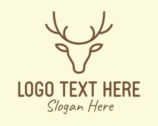 Antelope - Deer Head Outline logo design