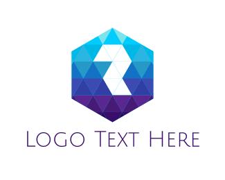 Hexagonal - Diamond Letter R logo design