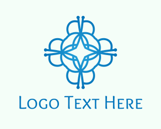 Fashion Designer - Abstract Blue Flower logo design