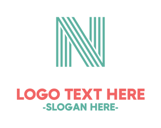 Striped - Turquoise Striped Letter N logo design
