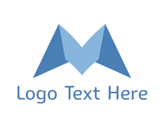Folded - Blue Origami M logo design