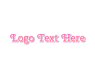 Typeface - Curly Cute Pink Text logo design