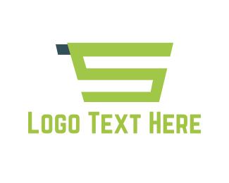 Supermarket - Green Shopping Cart  logo design