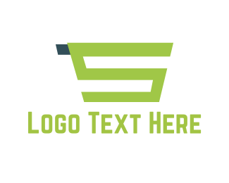 Shop - Green Shopping Cart  logo design
