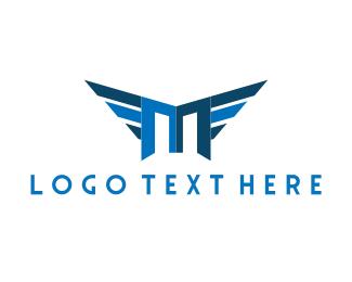 Initial - Winged Letter M logo design