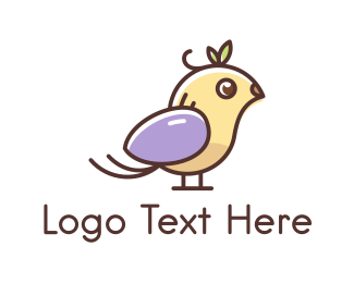 Feather - Cute Little Bird logo design