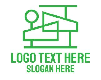 Lawn Care - Modern House Outline  logo design
