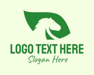 Equestrian - Horse Leaf logo design