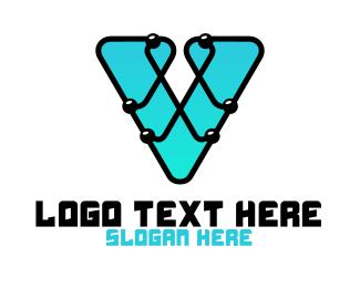 Motherboard - V Computer Chip logo design