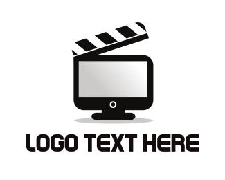 Vlog - Movie Clapboard Screen logo design