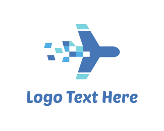 Rocket - Plane Travel Pixel logo design