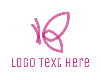 Hospice - Pink Abstract Butterfly logo design