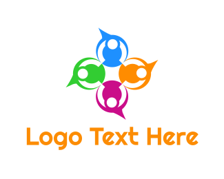 Crowd - Colorful Speech Bubbles logo design