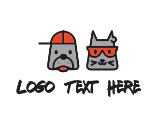 Cap - Cat & Dog logo design