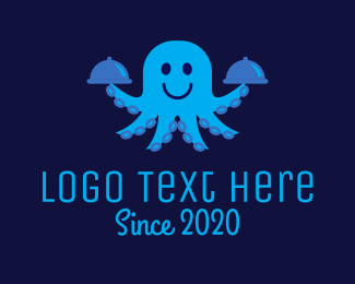 Cater - Octopus Waiter logo design