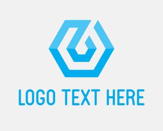 Bitcoin - Blue Tech Hexagon logo design