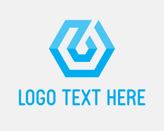 Bitcoin - Blue Tech Hexagon logo design