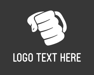 Strong - White Punch Hand logo design
