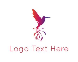 Art - Leaves Hummingbird logo design