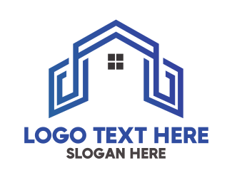 Land Developer - Blue House Outline logo design