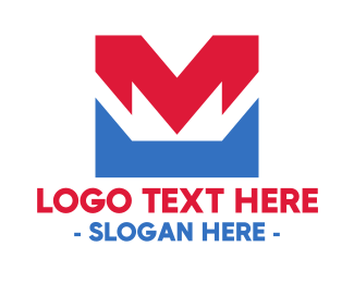 Patriotic - Red Blue M logo design