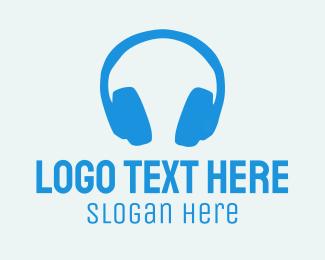 Headset - Blue Headphones  logo design
