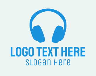 Stereo - Blue Headphones  logo design