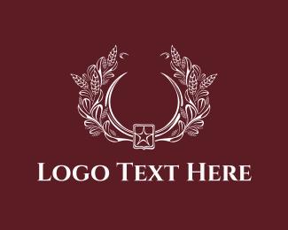 White - Floral Emblem logo design