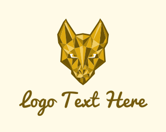 Pandora - Gold Dog Mascot logo design