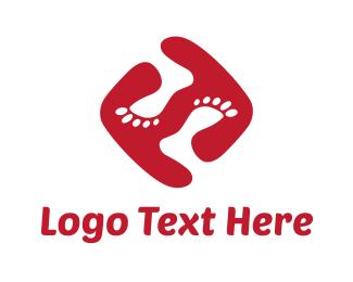 Letter F - Funky Feet logo design