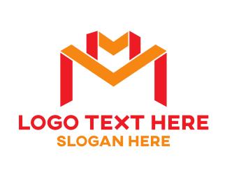 Ribbon - Red Orange Ribbon M logo design