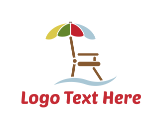 Pool - Umbrella Chair logo design