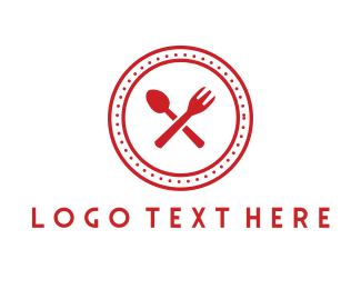 Cater - Red Cutlery Circle logo design