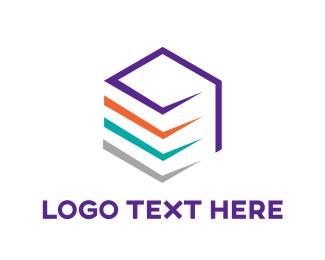 Dynamic - Colorful Cube Line Art logo design