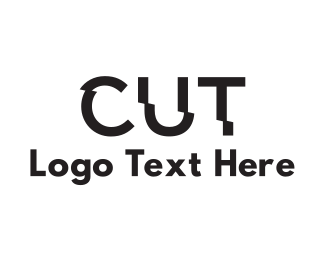 Haircut - Cut Text logo design