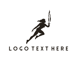 Athlete - Woman & Torch logo design