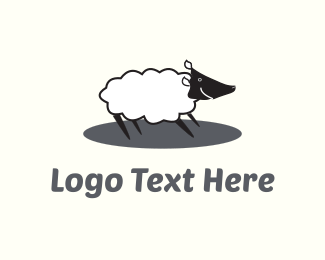 Sheep - Happy White Sheep  logo design