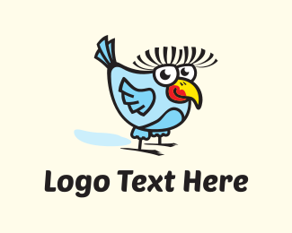 Eyelashes - Friendly Bird Cartoon logo design