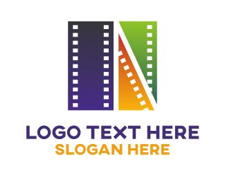 Film Reel - Colorful Filmstrip logo design