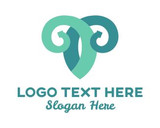 Ram - Vine Goat logo design