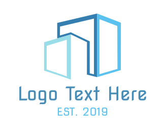 Skyscraper - Blue Boxes logo design